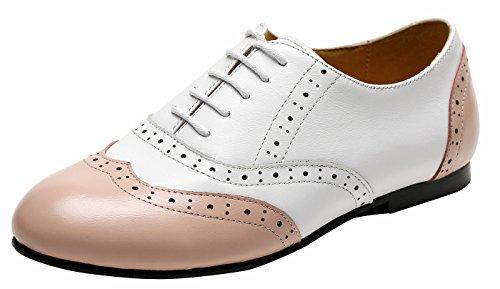 SimpleC Damen Rindsleder Mehrfarbige Ultra-Light Comfort Flat Oxford Schuhe, Casual Frühlingsschuhe Sommerschuhe Weiß-Rosa35 Einfache Geist Schuhe Für Frauen