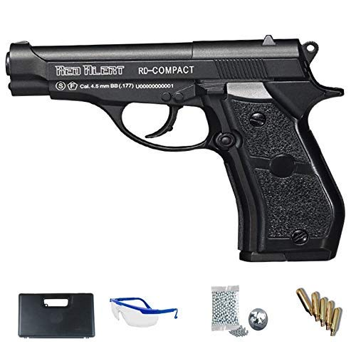 RD Compact Gamo Red Alert Pistola Full Metal + maletín + Accesorios. Arma de balines (perdigones BB's de Acero Cal 4.5mm) y CO2 (Botella de Aire comprimido) SEMIAUTOMÁTICA <3,5J