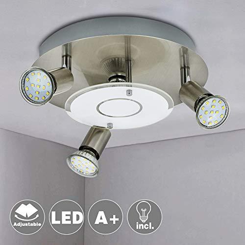 DINGLILIGHTING Deckenleuchte Rund, Deckenlampe GU10, 4 Spots, Deckenstrahler 4 Flammig, Wohnzimmerlampe LED Modern, 12W Warmweiß - Runde 4 Licht