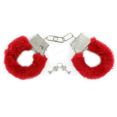 Red Spice Kostüm - Schwarz rot Plüsch-Handschellen Kostüm für Erwachsene Junggesellen- und Junggesellinnenabschied flauschig Love Metal Shopmonk
