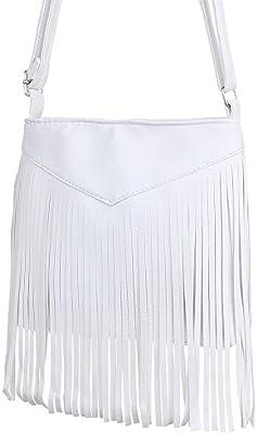 Mujer bolsillo, pequeño bolso con flecos, piel sintética, TA de 25