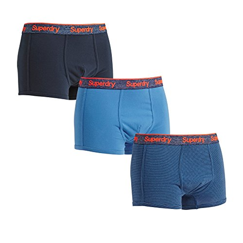 Superdry Dreierpack Boxershorts Herren ORANGE Label Denimblue Imperial Navy Denimblue, Größe:L