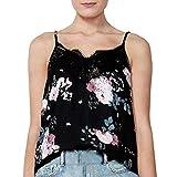 T-Shirt mit V-Ausschnitt, ärmelloser Camisole-Druck, Klassische schicke Blumenbluse Comfort Print WUDUBE