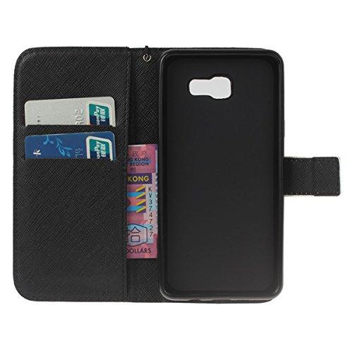 PU Galaxy A5 (2016) Hülle case vintage ledertasche, Handy Schutzhülle für Samsung Galaxy A5 (6) SM-A510F (2016) Hülle Leder Wallet Tasche Flip Brieftasche Etui Schale (+Staubstecker) (3) 4