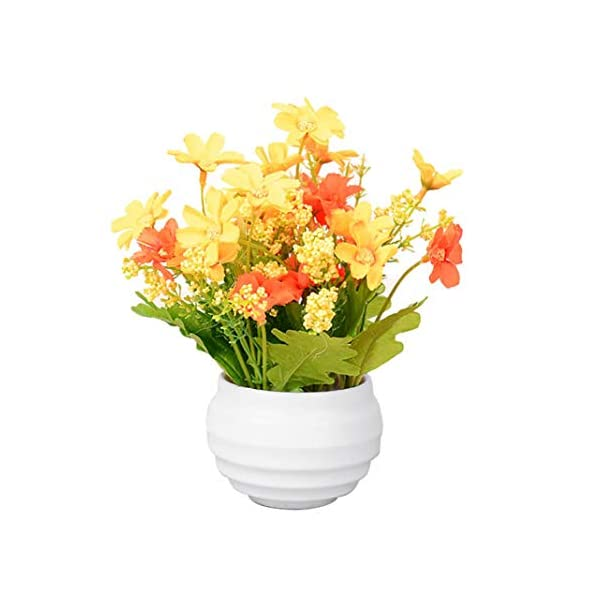 LbojailiAi Flor Artificial Flor de crisantemo Artificial en Maceta Bonsai Garden Wedding Table Ornament – F