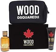 Dsquared2 Wood Eau de Toilette, Shower Gel & Pouch Set for Men, 200 ml - Pack