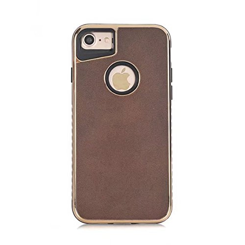 Dual Layer PC + TPU Ultra mince et léger Retro Crazy Horse Leather Skin Hybrid Shell Cover Case [antichoc] pour iPhone 7 et 8 ( Color : Brown ) Brown