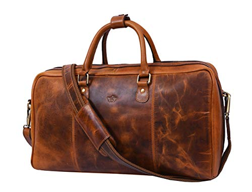 Leather Travel Duffle Bag | Gym Sports Bag Airplane Luggage Carry-On Bag (Caramel) (Carry On Travel Bag)