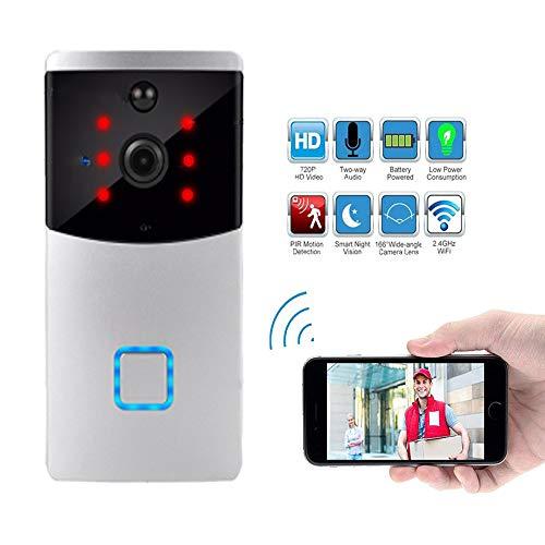 Care-eye Timbre Inalámbrico, 720P HD WiFi Inteligente, Conversación Bidireccional, Visión Nocturna, Visión 166 °, Sistema de Seguridad para el Hogar, Tienda, Oficina