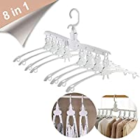 Triwin 8 in 1 Space Saving Hanger Multifunctional Hangers 360 Rotate Anti-Skid Folding Hanger Detachable Travel Hanger for Dresses T-Shirts Blouses Cami
