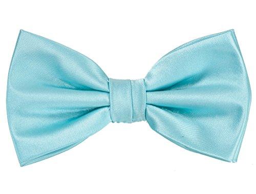 PUCCINI Einfarbige Fliege Herren, Satin-Schimmer, verschiedene Farben, Mikrofaser, Handarbeit, Hochzeit & Alltag (Hellblau)