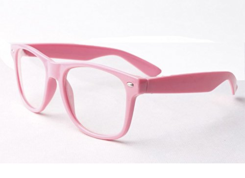 Rosa Nerd Outfit Wayfarer Brille + Fliege Geek Kostüm School Girl Boy Fancy Kleid