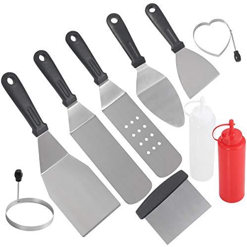POLIGO 10 Piezas Juego de Accesorios de Plancha de Acero Inoxidable de Grado Comercial para la Cocina Teppanyaki Grill con Parte Superior Plana cumpleaños para Hombres
