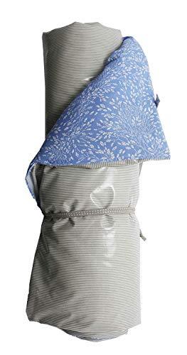 AU Maison Picknickdecke 140x180 Meadows Blumen Blau/Streifen Grau
