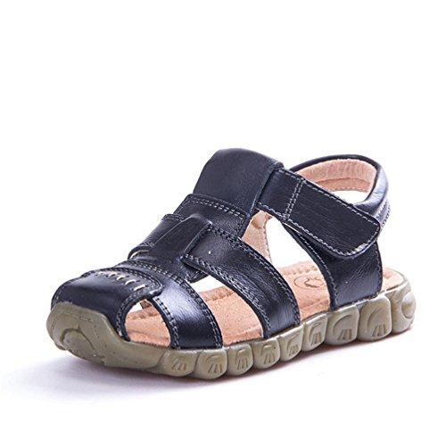 Unisex-Kinder Sandalen aus Leder Jungen Mädchen Geschlossen-Toe Sommer Strand Schuhe Outdoor Beach & Pool Trekkingsandalen Klettverschluss 21-36, Schwarz, 25 EU