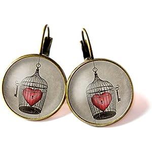 Ohrringe, Herz in einem Käfig