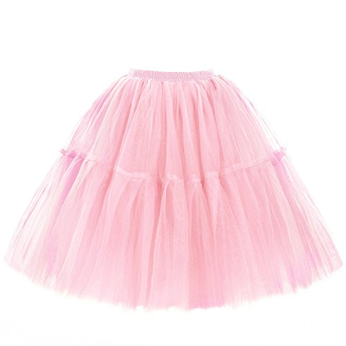 WOW Factors® Damen Tüllrock Ballettrock Tutu Prinzessin Petticoat Unterrock Pettiskirt Rosa One Size (Rosa Tutu Prinzessin)
