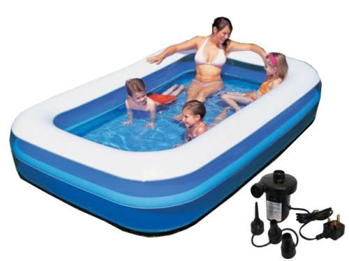 INFLATABLE JUMBO LARGE RECTANGULAR FAMILY OUTDOOR GARDEN PADDLING SWIMMING POOL WITH ELECTRIC 240 V SIDEWINDER PUMP - 103