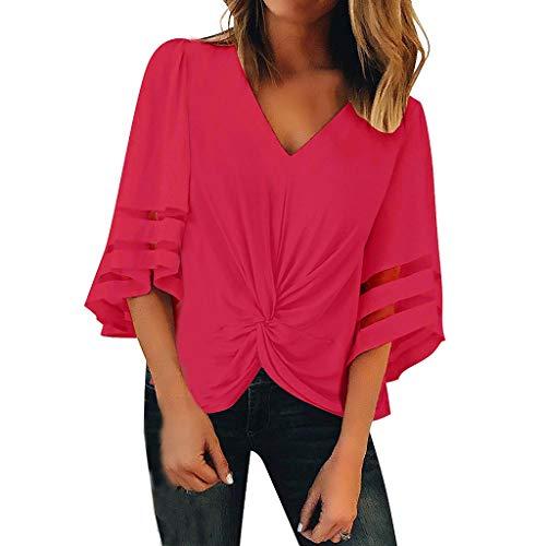 Zegeey Damen Oberteil T-Shirt 3/4-Arm V-Ausschnitt Mesh Sommer Falten UnregelmäßIger LäSsige Lose Bluse Hemd Oberteil Tunika(Hot Pink,EU-40/CN-XL)