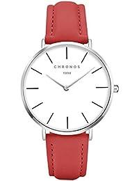 Relojes Mujer Reloj de Cuarzo Relojes Hermosas Correa de PU Cuero Artificial Relojes de la Mujer Hombre niña,Rojo-Plata