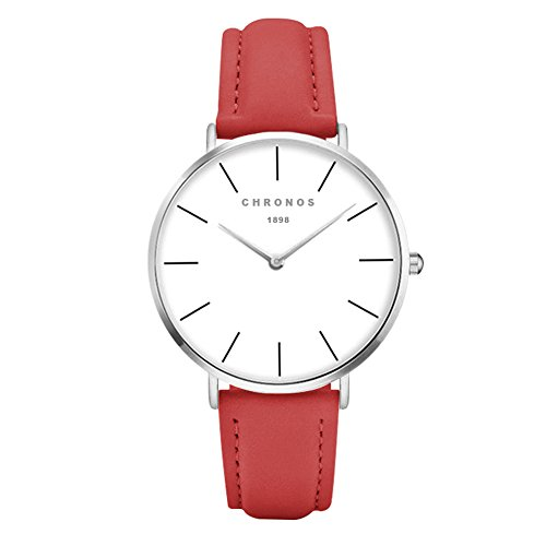Mode Klassisch Unisex Damenuhren Herrenuhren PU Lederband Anolog Armbanduhren für Männer Frauen, Rot-Silber