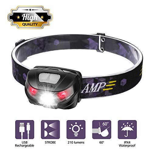 OUTERDO Stirnlampe LED, Mini Kopflampe USB Wiederaufladbar, Wasserdichte Stirnleuchte, Kopfleuchte Warnen- Rotlicht für Arbeiten Camping Laufen Wandern Joggen Angeln Schwarz