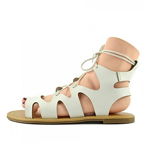 Kick Footwear - Moda Donna Estate Casual Sandali Scarpe Di Cuoio Naturale Bianco F0976