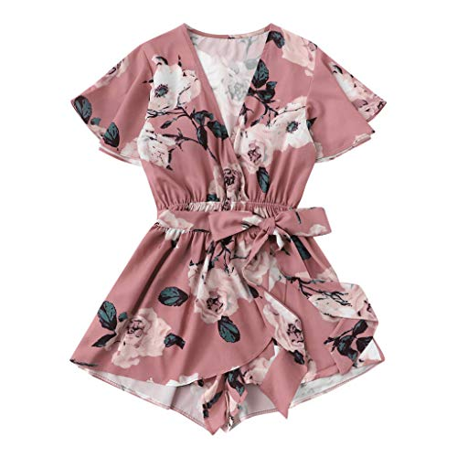 Likecrazy 2PCS Set Damen Crop Tops + Shorts Sommer Jumpsuit Strand Floral Print Strandkleidung Boho Style Beachwear Zweiteiler Schulterfrei T Shirts Kurze Hose (B Rosa, S) -