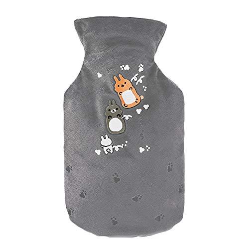 Vi.yo Wärmflasche, niedliches Cartoon-Tiermuster, Wärmflasche mit Filzbezug, Gummi + Plüsch, 14cm * 21cm, 500ml