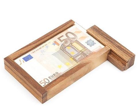 Magische Geldgeschenkbox ohne Gravur – Knobelspiel aus Holz – Geschenkverpackung mit Trickverschluss – Geduldspiel als originelles Geburtstagsgeschenk
