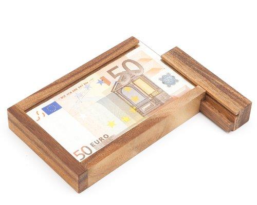 Casa Vivente - Magische Geldgeschenkbox - Knobelspiel aus Holz - Geschenkverpackung mit Trickverschluss - Geduldspiel als Originelles Geburtstagsgeschenk - Verpackung für Geldgeschenke (Trick Geld-box)