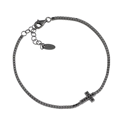 Bracciale Tennis Croce Con Zirconi AG925, Colore: Brunito - Amen Collection