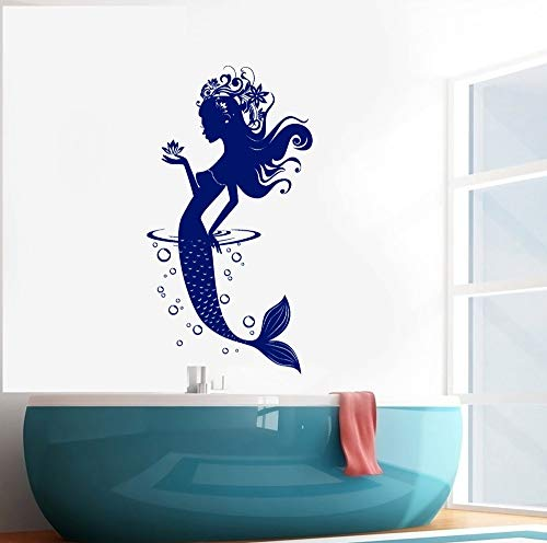 yiyitop Charakter Meerjungfrau Blasen Wandaufkleber Für Badezimmer Wohnzimmer Mädchen Schlafzimmer Wohnkultur Tapete Aufkleber Vinyl Wandbilder Kunst 42 * 77 cm