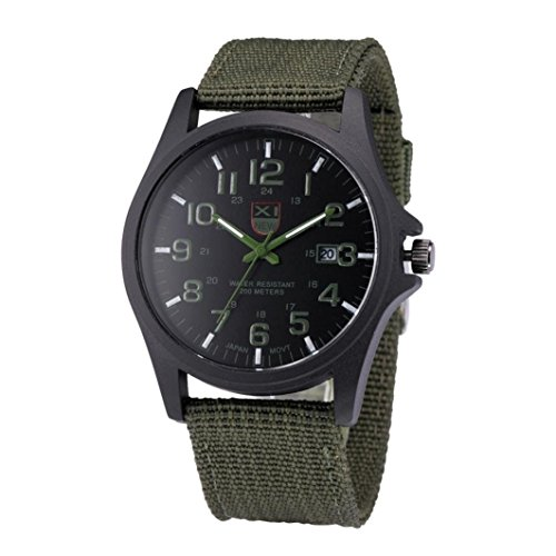 Feitong – Reloj analógico de cuarzo para hombre, para uso exterior, con indicador de fecha y correa de lona