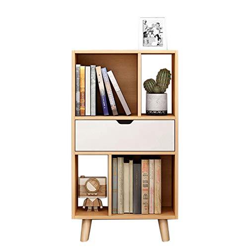 JCNFA Bücherregal Stauraum Für Wohnzimmer Büro Regal Bodenständer Mit Schublade Offene Lagerung, 3 Farben (Farbe : Holz, größe : 19.68 * 9.84 * 36.22in) -