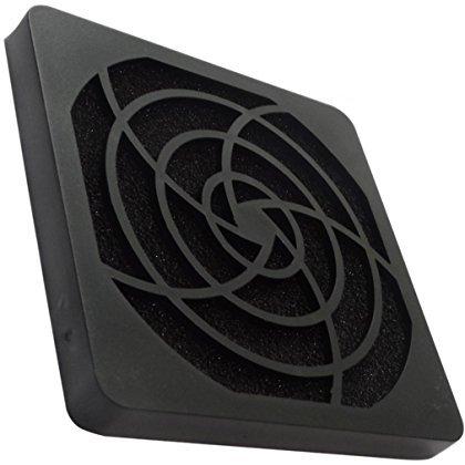 Aerzetix: 2 X Schwarz Schutzgitter Lüftungsgitter 92x92mm Ventilation mit Filter Staub 45ppi für Lüfter Gehäuse Computer PC C15119