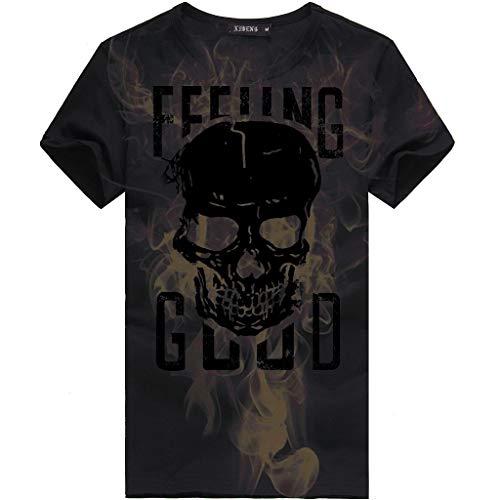 SSUDADY T-Shirt Herren Männer Sommer Kurzarm Totenkopf Drucken T-Shirt mit Rundhals-Ausschnitt Basic Tees Fashion Einfaches T-Shirt Sweatshirts Tops Für Männer S-3XL