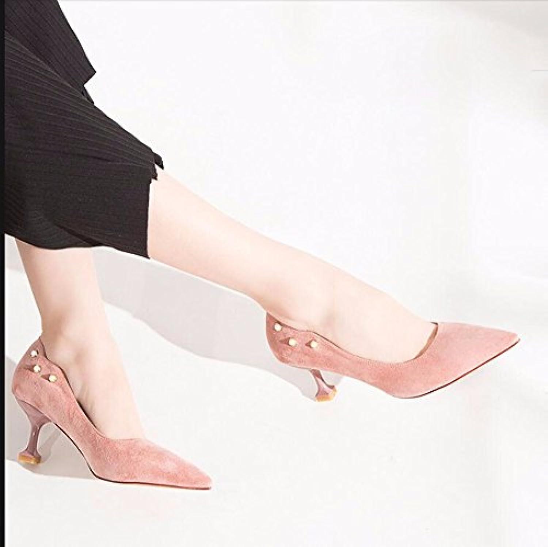 2ce8fa65a5bce9 GTVERNH Chaussures Printemps Wild Pointu Pointu Pointu Petite Bouche Daim  Cat Et Chaussures.B07DNGH1KJParent | L'exportation aadc72
