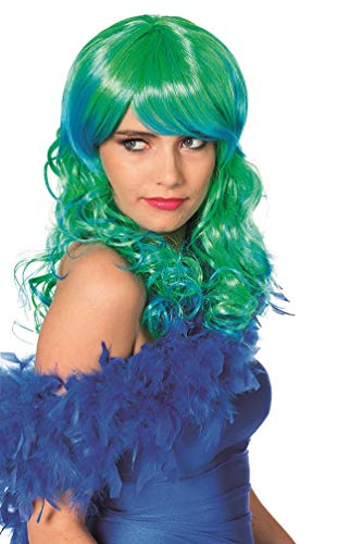 Karneval-Klamotten Meerjungfrau Perücke Undine Perücke blau grün Damen-Perücke