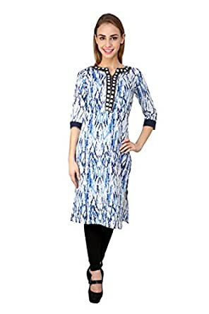 Yahvi Designs Women's Cotton Kurta (YD 355_Blue_X-Large)