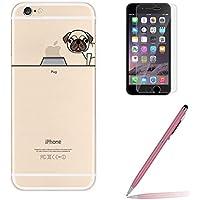 Custodia iPhone 6/6s [Pellicola Protettiva in Vetro Temperato], Yoowei® Chiaro Cristallo Trasparente Ultra Sottile Morbido TPU Gel Case Cover per iPhone 6/6s 4.7
