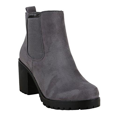 Damen Stiefeletten Blockabsatz Chelsea Boots Profilsohle Grau Schwarz Grau