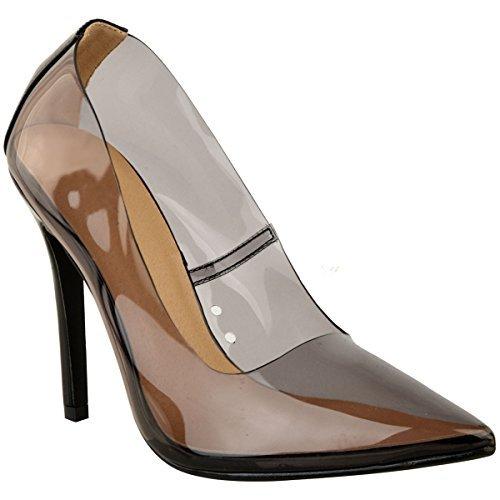 Fashion Thirsty Damen Pumps mit Hohem Stiletto-Absatz - Spitz Zulaufend - Transparentes Perspex - Schwarz Lack-Optik - EUR 39 -