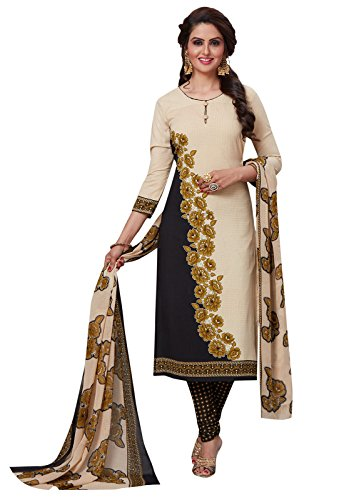 Ishin Synthetic Beige & Black Printed Unstitched Salwar Suit Dress Material/Fabric (Anarkali/Patiyala)...
