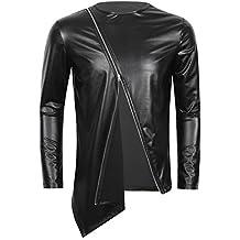 CHICTRY Herren Slim Fit Metallic Glatt T Shirt Tops Unterwäsche Reizwäsche  Kunst Leder Unterhemd Clubwear Muskelshirt b4d61dbfad