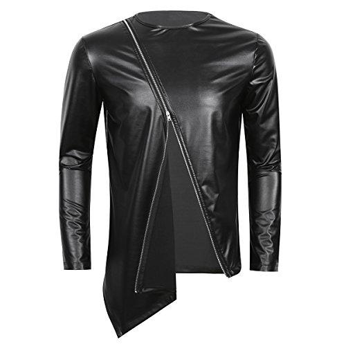 CHICTRY Herren Slim Fit Metallic Glatt T Shirt Tops Unterwäsche Reizwäsche Kunst Leder Unterhemd Clubwear Muskelshirt M L XL Zipper Schwarz XX-Large
