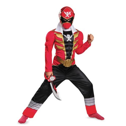 Disguise Saban Super MegaForce Power Rangers Red Ranger Classic Muscle Boys Costume, Large/10 12