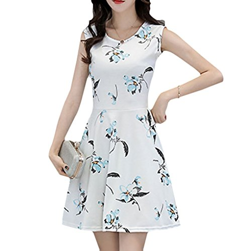Mengonee Women Sleeveless Flower Print Loose Dress O Neck Floral Summer A Line Dress (Sleeveless Silk Floral Kleid)