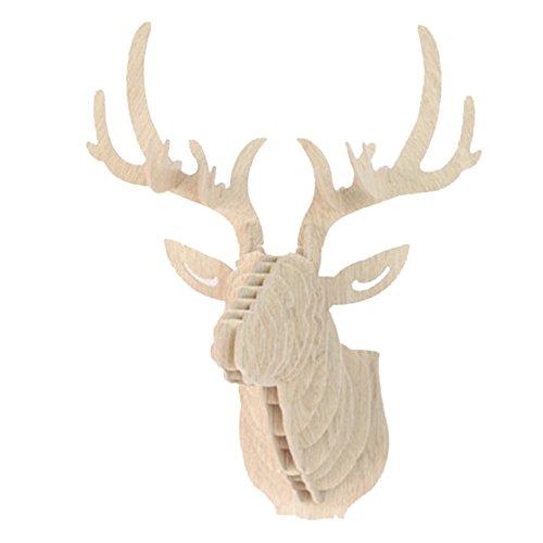Souarts 3D Suspension Murale Sculpture de Tête de Cerf Décoration Murale Entrée Couloir Blanc 1PC