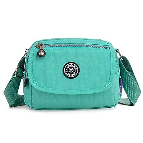 TianHengYi Mini Water Resistant Cross-body Bag Lightweight Nylon Travel Messenger Bag for Girls Green